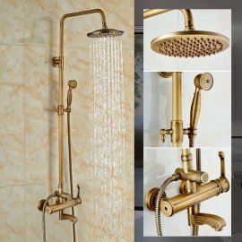 Juno Antique Brass Rain Shower System with Handheld Shower Head