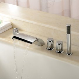 Juno Bathtub Waterfall Faucet with Hand Shower Faucet