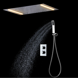 Ceiling Mounted Electric LED Chrome Rainfall Bathroom Shower