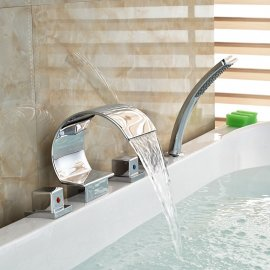 Juno Chrome Polished Waterfall Roman Tub Faucets With Handheld Shower
