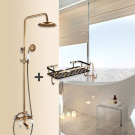 Combo Polished Brass Dual Shower Head With Hand Held Bathtub Shower Set and Shower Shelf