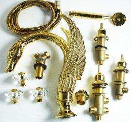 Juno Crystal Handle Swan Waterfall Gold Bathtub Faucet