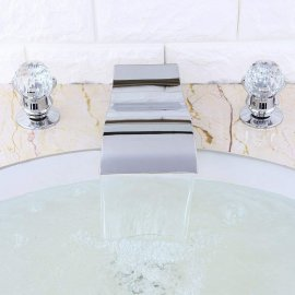 Juno Crystal Handles Chrome Waterfall Bathtub Faucet