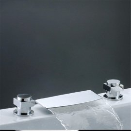 Juno Deck Mounted Chrome Waterfall Bathtub Faucet