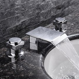 Juno Double Handle Chrome Waterfall Sink & Bathtub Faucet