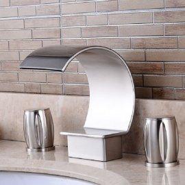 Dual Handle Contemporary Ceramic Chrome Polished Waterfall Bathtub Mixer