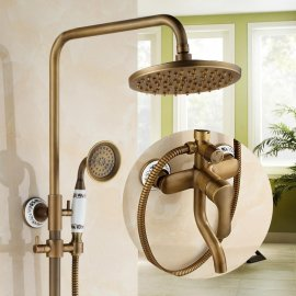 Polished Brass Shower Head Extension Arm With Hand Held Shower & Tub Spout