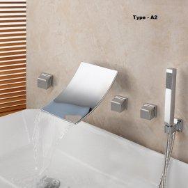 5 pc Bathtub Waterfall Polished Chrome Bathroom Faucet