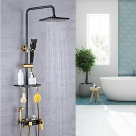 Juno Featured Black & Gold Rain Shower System Thermostatic LED Digital Display Mixer With Tub Spout & Handheld Shower