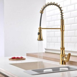 Juno Gold Deck Mounted Pull Out Kitchen Faucet
