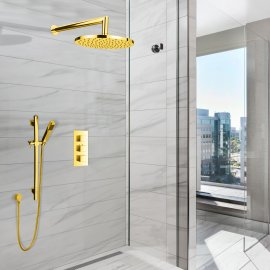 Juno Gold Plated Wall Mount Shower Head Set