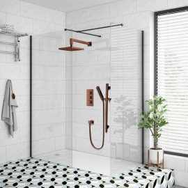 Juno Oil-Rubbed Wall Mount Square Shower Head Set with Hand Shower