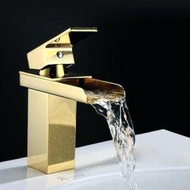 Juno Single Handle Deck Mount Waterfall Gold Bathroom Sink Faucet