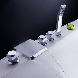 Juno Square Triple Handle Roman Tub Faucet