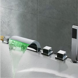 Juno Triple Handles Waterfall LED Bathtub Faucet with Hand-Shower