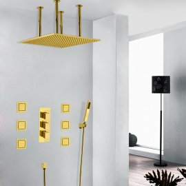 Juno Vanilla Gold Plated LED Large Rain Shower Head