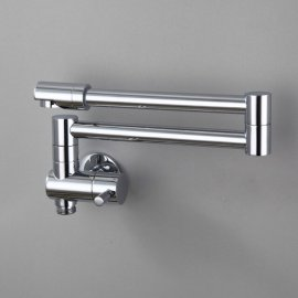Juno Wall Mount Foldable Brass Kitchen Faucet With Coiled Rotating Biget Kitchen Sink Faucet