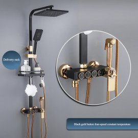Juno Luxury  Black & Gold Shower Head Digital Display Thermostatic Shower Set With Four-Speed Shower booster nozzle