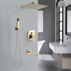 Large Adjustable Gold Rain Shower Set Mixer & Faucet With Handheld Shower