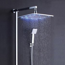 led rain shower head set with hand held shower head