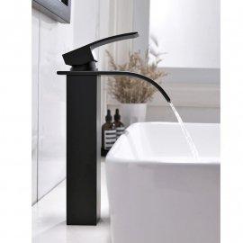 Widespread Deck Mount Black Bathroom Faucet