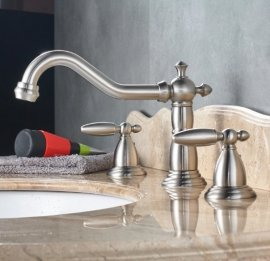 Luxury Dual Handle Deck Mounted Long Neck Bathroom Faucet