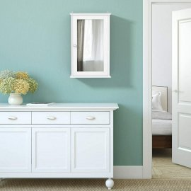 Mirrored White Bathroom Cabinet Single Door Storage