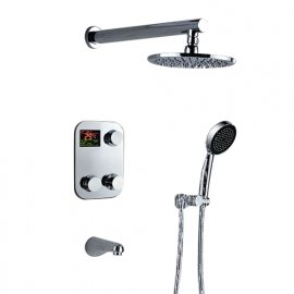 Modern Bathroom Digital Water Temperature Display Wall Mount Brass Chrome Finish Round Shower Head Set and Faucet