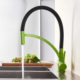 Multi-Color Black Pipe Pull-Down Single Handle Kitchen Sink Faucet