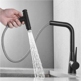 Juno Pull Out Kitchen Faucet Black Commercial Deck Mount Kitchen Sensor Faucet