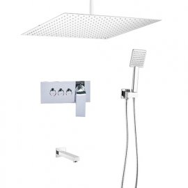 New 16 Inch Rain Shower Head with Push Button 3 Way Shower Mixer