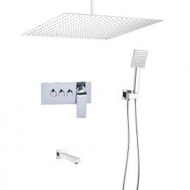 New 16 Inch Rain Shower Head with Push Button 3 Way Shower Mixer