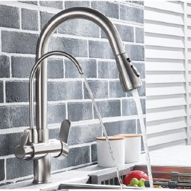 New Juno Brushed Touch Kitchen Faucet Deck Mount Swivel Dual Function Tap