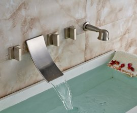 Retro brushed wall mount bathtub faucet with pull out hand held shower