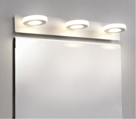 Juno New Best Lighting For Makeup Wall Mount 3 Rings Rectangle Base LED Wall Mirror Light