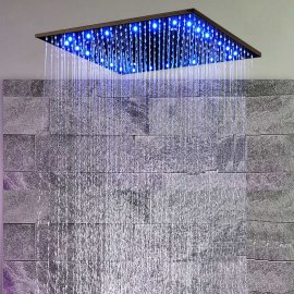 Oil-Rubbed Bronze Square LED Rain-Shower Head
