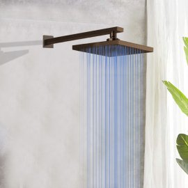 Oil Rubbed Bronze Square LED Rainfall Shower Head