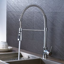 Polished Spring Pull Down Single Handle Swivel Spout Kitchen Faucet