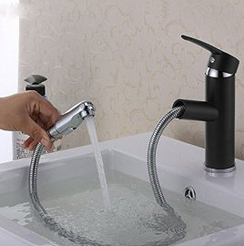 Pull Out Oil Rubbed Bronze Deck Mount Bathroom Basin Sink faucet