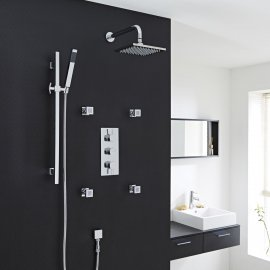 Nantes Thermostatic Chrome Finish Shower System With Large Rain Head Rail Kit