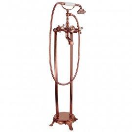 Juno Brass Pedestal Gold & Rose Gold Bathroom Bathtub Dual Handle Faucet With Handheld Telephone Shower