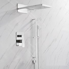 Juno Luxury Polished Chrome  Bathroom Thermostatic Rain Shower Faucet Set