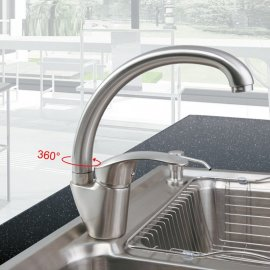 Inverted U Swivel Spout Kitchen Sink Faucet