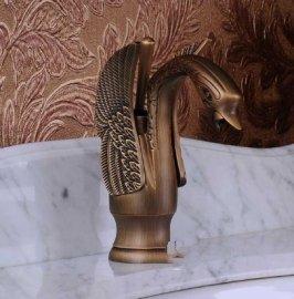 Single Handle Chrome Swan Bathroom Faucet