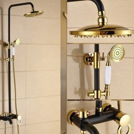 Single Holder Dual Control Gold Black Oil Rubbed Bronze Bathtub Shower Faucet Set