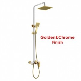 Solid Brass Luxurious Exposed Gold Bathroom Shower Set