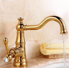 Stylish Crystal Handle Single Hole Bathroom Faucet