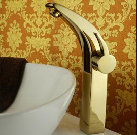 Stylish Gold Finished Single Handle Bathroom Sink Faucet