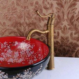 Stylish Hand Pump Antique Brass Bathroom Faucet