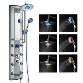 Digital Temperature Display Super Luxury LED Shower Panel Shower Head with 8 Body Jets & Hand Shower